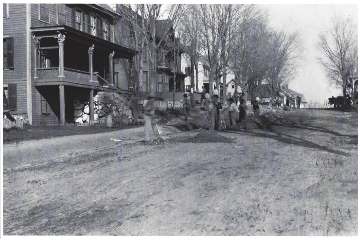 Water Main installation on West Main Street (provided by Hillsborough Historical Society - Manahan-Phelps-McCulloch Photographic Collection.)