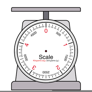 An image of a precision scale in grey with numbers to indicate the weights in red.